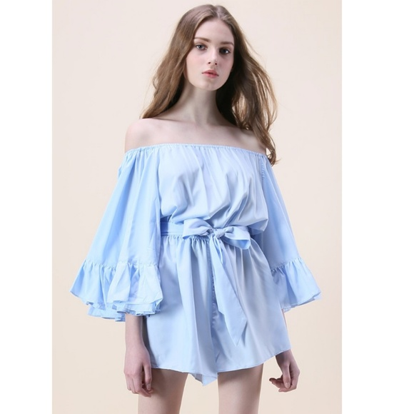 Chicwish Pants - NWT Chicwish blue ruffle off-shoulder romper